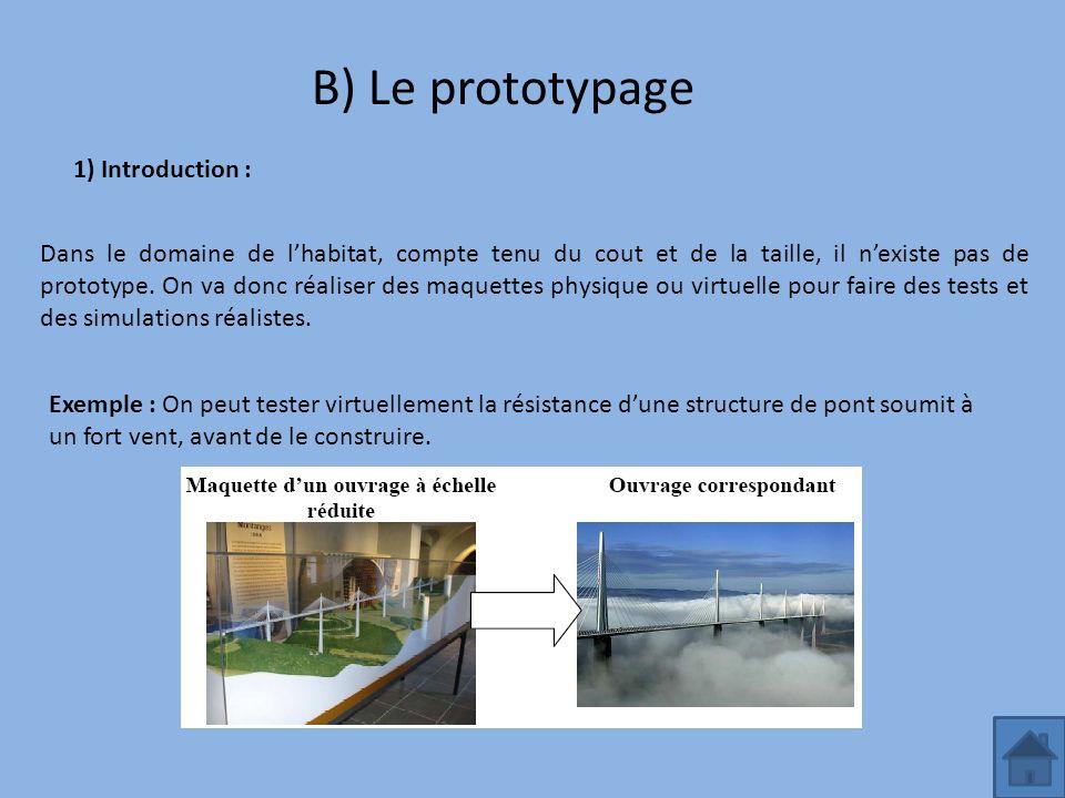 B) Le prototypage 1) Introduction : Dans le domaine de lhabitat, compte tenu du cout et de la taille, il nexiste pas de prototype. On va donc réaliser