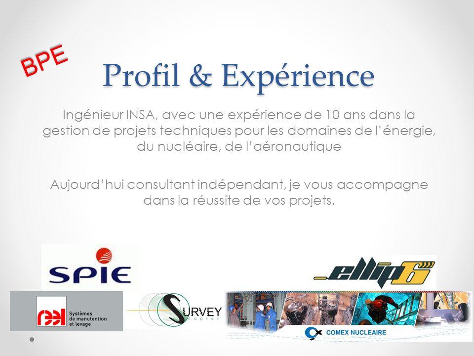 Profil & Expérience Ingénieur INSA, avec une expérience de 10 ans dans la gestion de projets techniques pour les domaines de lénergie, du nucléaire, d