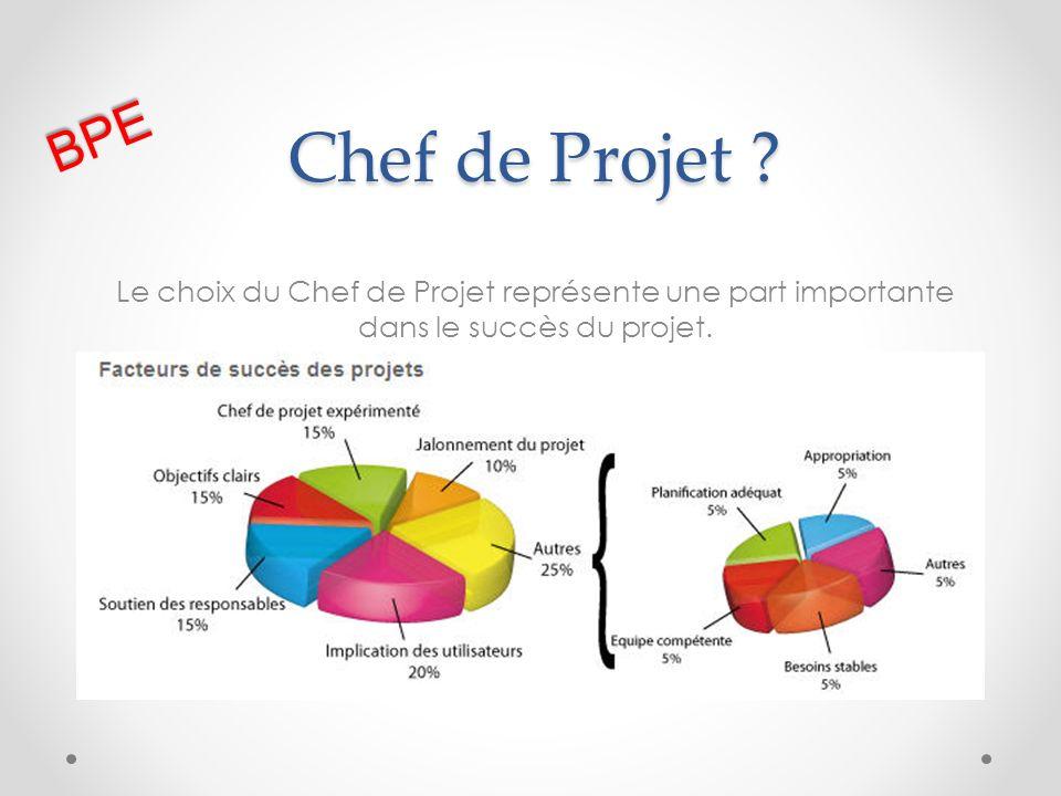 Chef de Projet ? Le choix du Chef de Projet représente une part importante dans le succès du projet. BPE