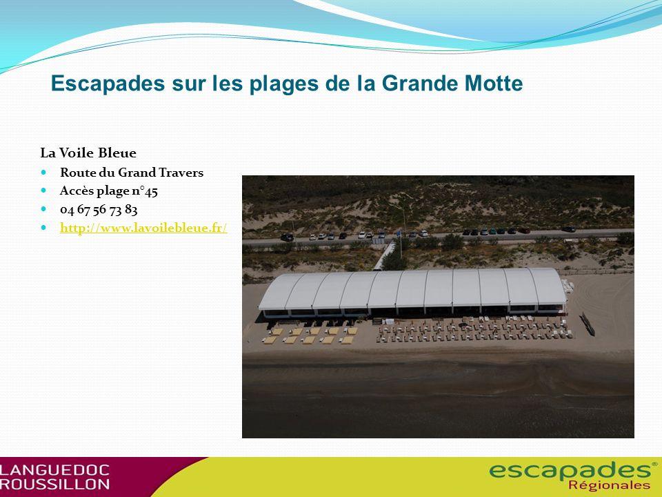 Escapades sur les plages de la Grande Motte La Voile Bleue Route du Grand Travers Accès plage n°45 04 67 56 73 83 http://www.lavoilebleue.fr/ http://www.lavoilebleue.fr/