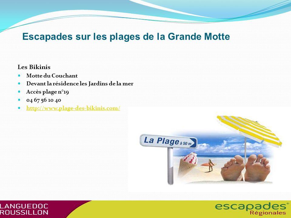 Escapades sur les plages de la Grande Motte Les Bikinis Motte du Couchant Devant la résidence les Jardins de la mer Accès plage n°19 04 67 56 10 40 http://www.plage-des-bikinis.com/