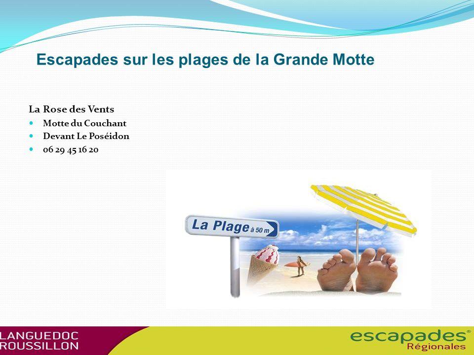 Escapades sur les plages de la Grande Motte La Rose des Vents Motte du Couchant Devant Le Poséidon 06 29 45 16 20