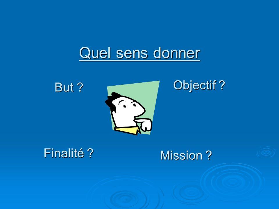 Quel sens donner But ? Objectif ? Finalité ? Mission ?