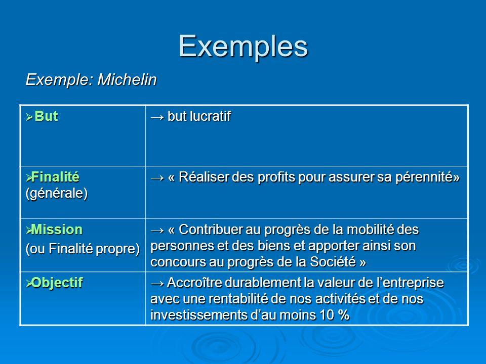 Exemples But But but lucratif but lucratif Finalité (générale) Finalité (générale) « Réaliser des profits pour assurer sa pérennité» « Réaliser des pr