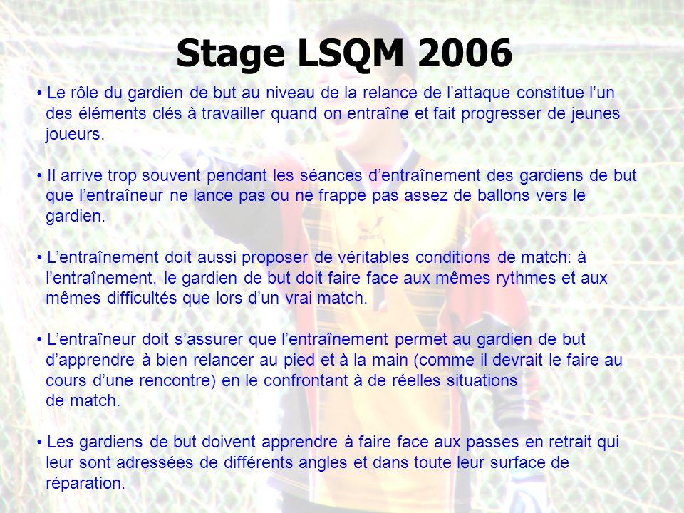 Stage LSQM 2006 Le rôle du gardien de but au niveau de la relance de lattaque constitue lun des éléments clés à travailler quand on entraîne et fait progresser de jeunes joueurs.