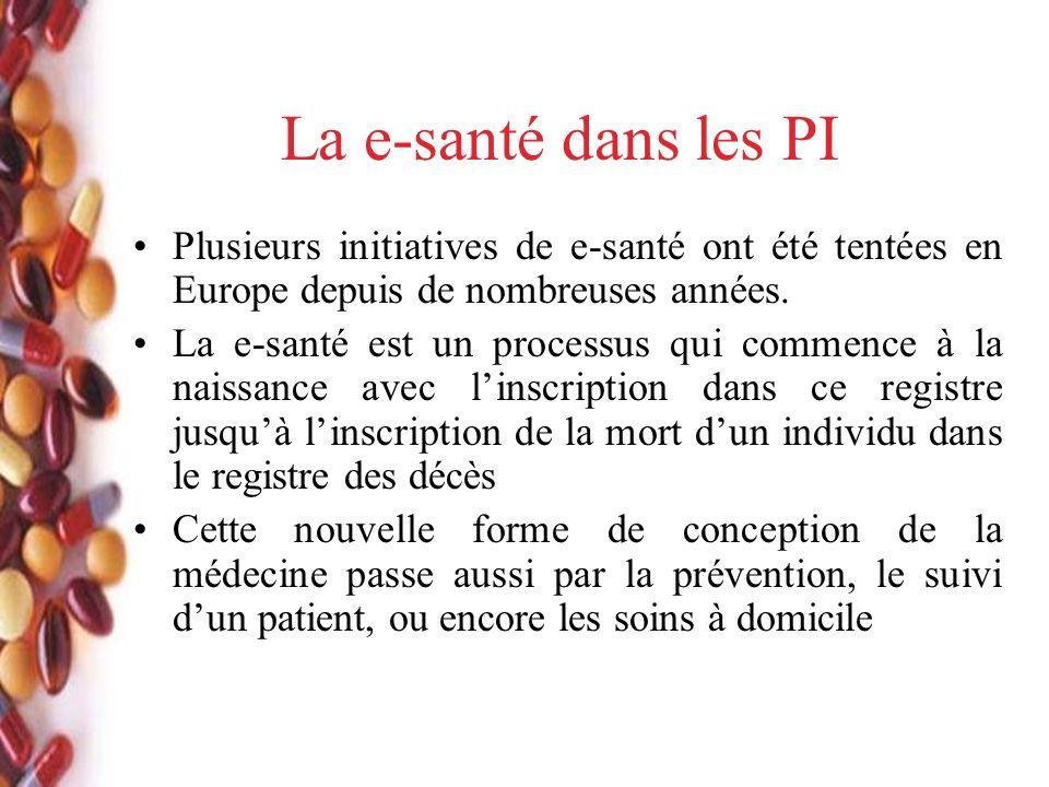 La e-santé dans les PI Plusieurs initiatives de e-santé ont été tentées en Europe depuis de nombreuses années.