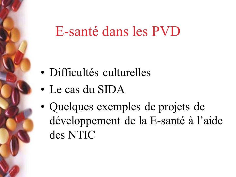 E-santé dans les PVD Difficultés culturelles Le cas du SIDA Quelques exemples de projets de développement de la E-santé à laide des NTIC