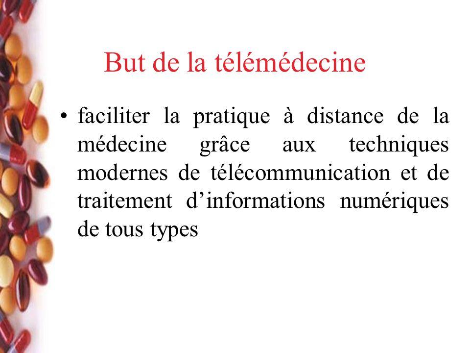 But de la télémédecine faciliter la pratique à distance de la médecine grâce aux techniques modernes de télécommunication et de traitement dinformations numériques de tous types