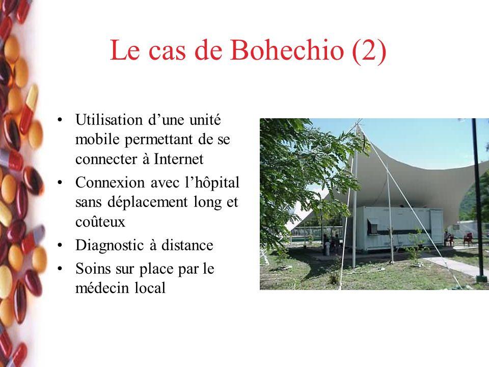 Le cas de Bohechio (2) Utilisation dune unité mobile permettant de se connecter à Internet Connexion avec lhôpital sans déplacement long et coûteux Diagnostic à distance Soins sur place par le médecin local