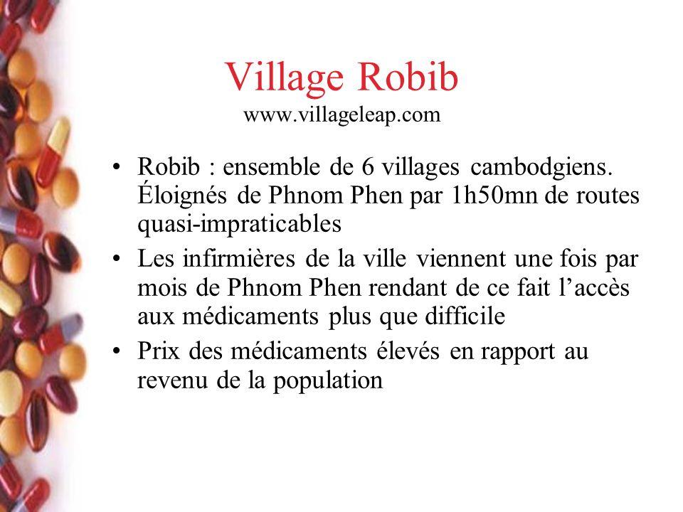Village Robib www.villageleap.com Robib : ensemble de 6 villages cambodgiens. Éloignés de Phnom Phen par 1h50mn de routes quasi-impraticables Les infi