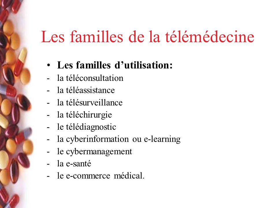 Les familles de la télémédecine Les familles dutilisation: -la téléconsultation -la téléassistance -la télésurveillance -la téléchirurgie -le télédiagnostic -la cyberinformation ou e-learning -le cybermanagement -la e-santé -le e-commerce médical.