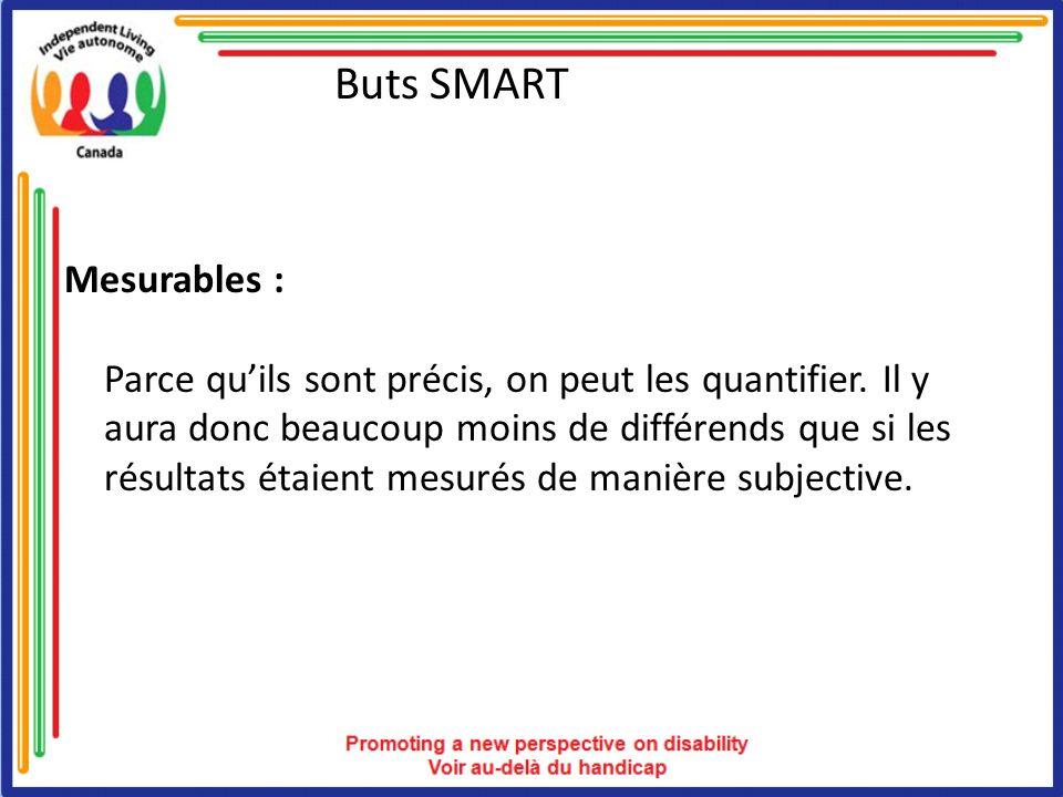 Buts SMART Mesurables : Parce quils sont précis, on peut les quantifier.