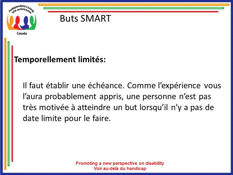 Buts SMART Les buts SMART offrent: une clarté une orientation une motivation, une participation et un engagement accrus de meilleures chances de réussir