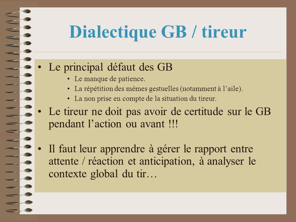 Dialectique GB / tireur Le principal défaut des GB Le manque de patience. La répétition des mêmes gestuelles (notamment à laile). La non prise en comp