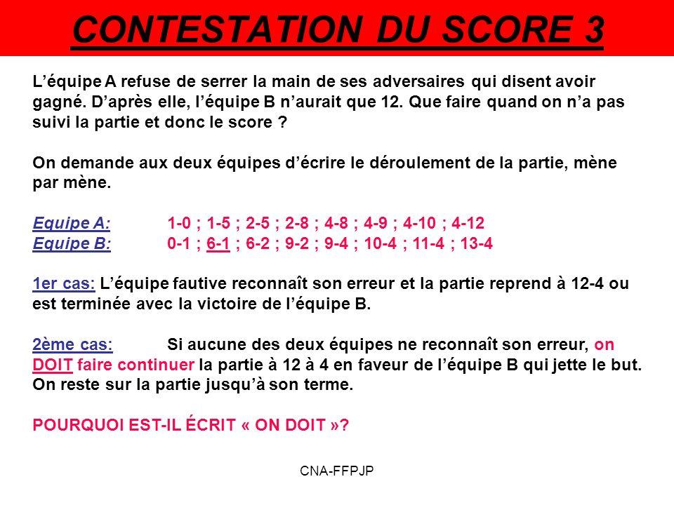 CONTESTATION DU SCORE 3 Léquipe A refuse de serrer la main de ses adversaires qui disent avoir gagné.