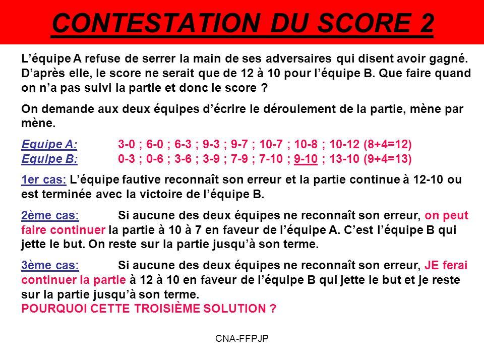 CONTESTATION DU SCORE 2 Léquipe A refuse de serrer la main de ses adversaires qui disent avoir gagné.