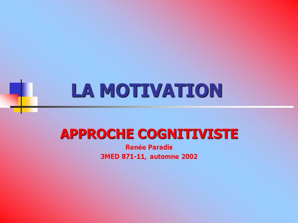 LA MOTIVATION LA MOTIVATION APPROCHE COGNITIVISTE Renée Paradis 3MED 871-11, automne 2002