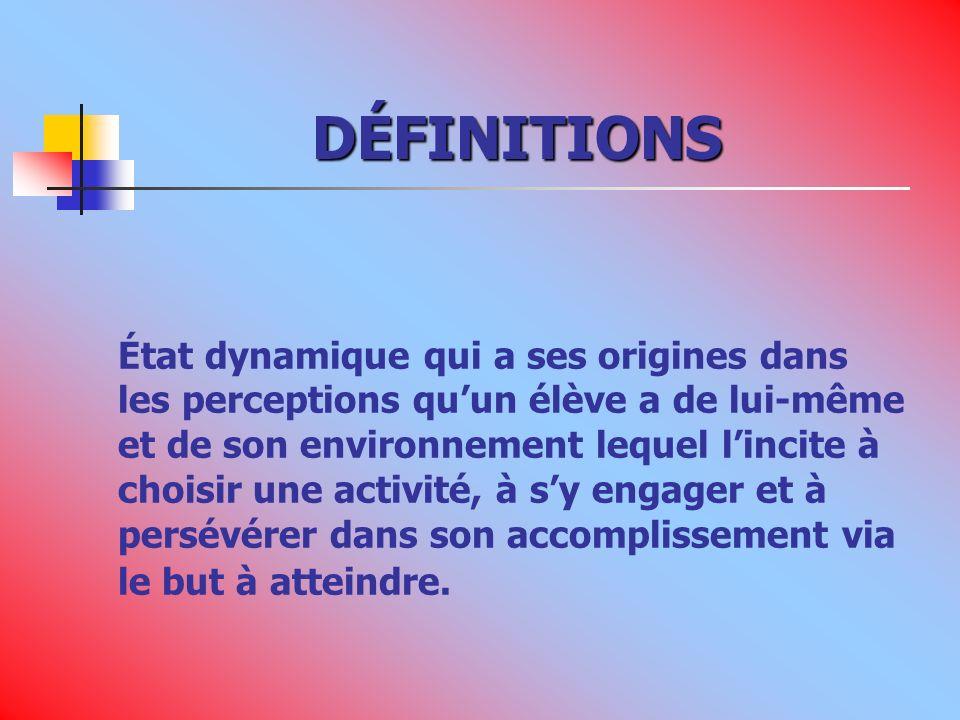 DÉFINITIONS État dynamique qui a ses origines dans les perceptions quun élève a de lui-même et de son environnement lequel lincite à choisir une activité, à sy engager et à persévérer dans son accomplissement via le but à atteindre.