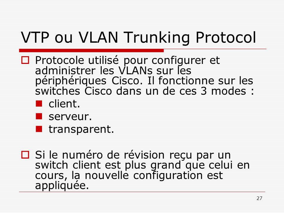 27 VTP ou VLAN Trunking Protocol Protocole utilisé pour configurer et administrer les VLANs sur les périphériques Cisco. Il fonctionne sur les switche
