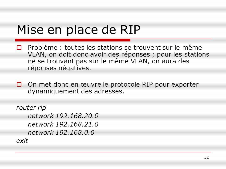 32 Mise en place de RIP Problème : toutes les stations se trouvent sur le même VLAN, on doit donc avoir des réponses ; pour les stations ne se trouvan
