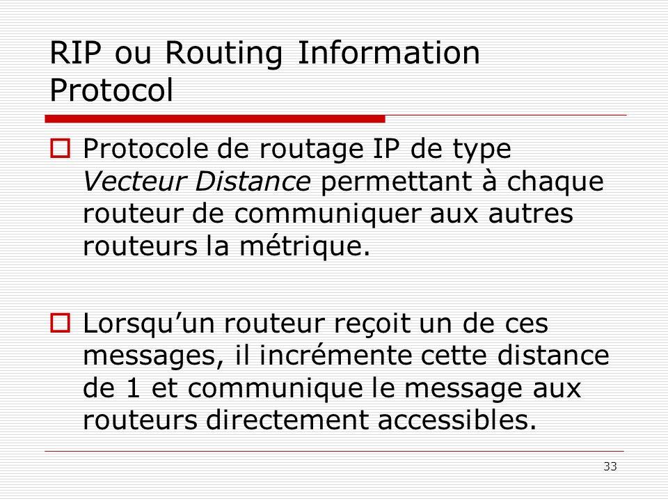 33 RIP ou Routing Information Protocol Protocole de routage IP de type Vecteur Distance permettant à chaque routeur de communiquer aux autres routeurs