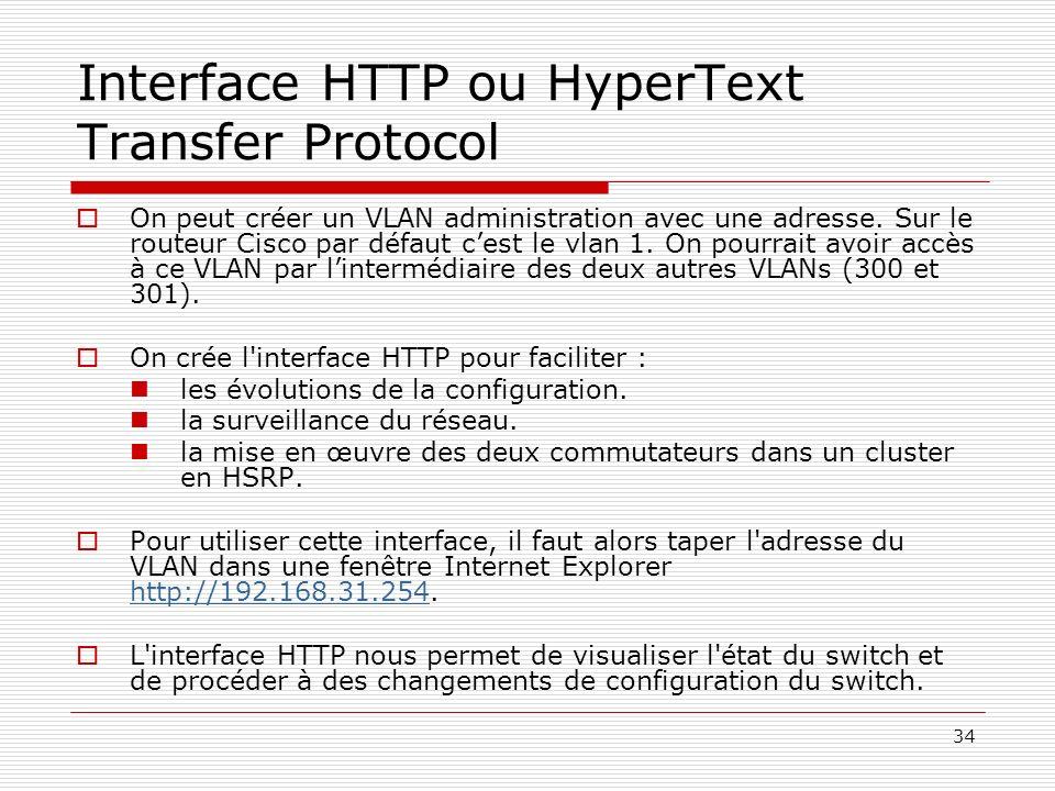 34 Interface HTTP ou HyperText Transfer Protocol On peut créer un VLAN administration avec une adresse. Sur le routeur Cisco par défaut cest le vlan 1