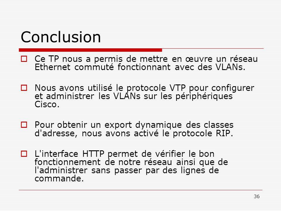 36 Conclusion Ce TP nous a permis de mettre en œuvre un réseau Ethernet commuté fonctionnant avec des VLANs. Nous avons utilisé le protocole VTP pour