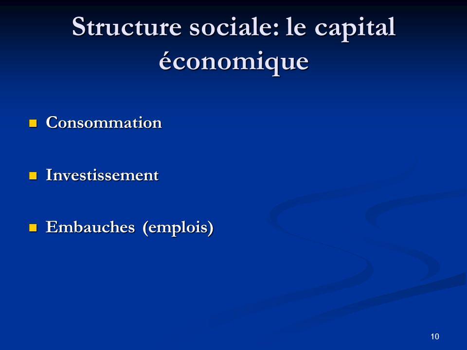 10 Structure sociale: le capital économique Consommation Consommation Investissement Investissement Embauches (emplois) Embauches (emplois)