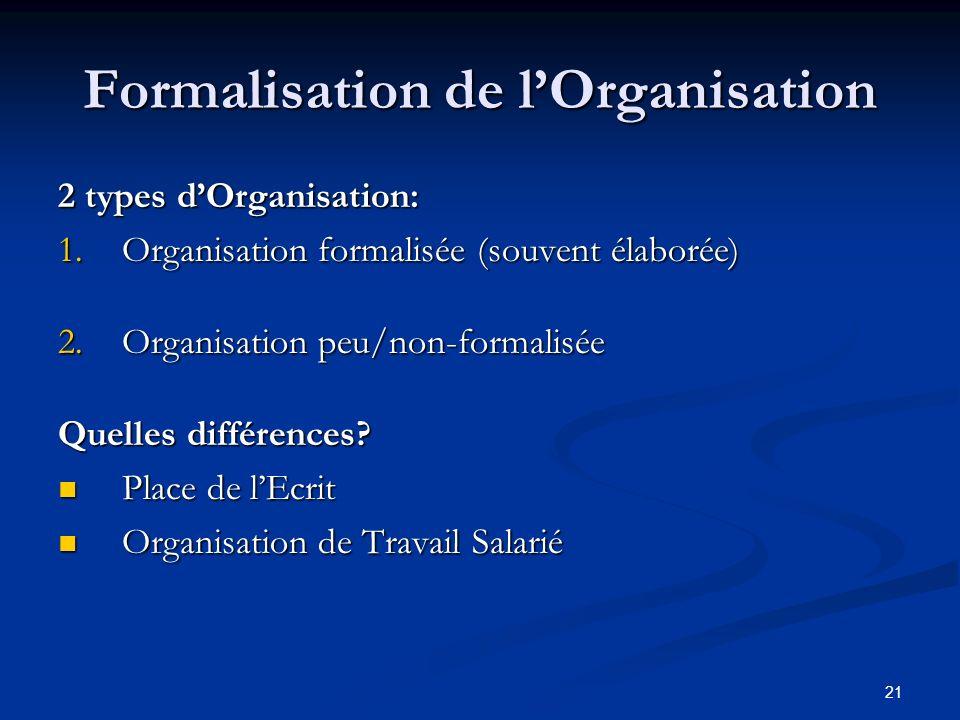 21 Formalisation de lOrganisation 2 types dOrganisation: 1.Organisation formalisée (souvent élaborée) 2.Organisation peu/non-formalisée Quelles différences.