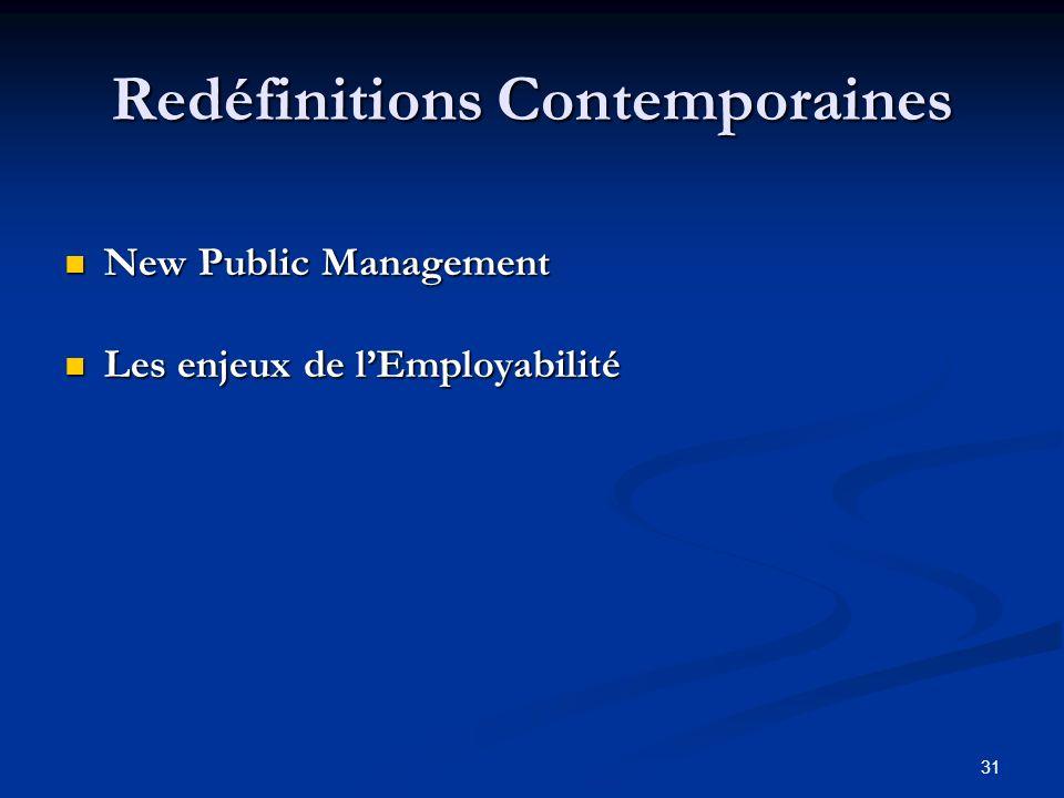 31 Redéfinitions Contemporaines New Public Management New Public Management Les enjeux de lEmployabilité Les enjeux de lEmployabilité