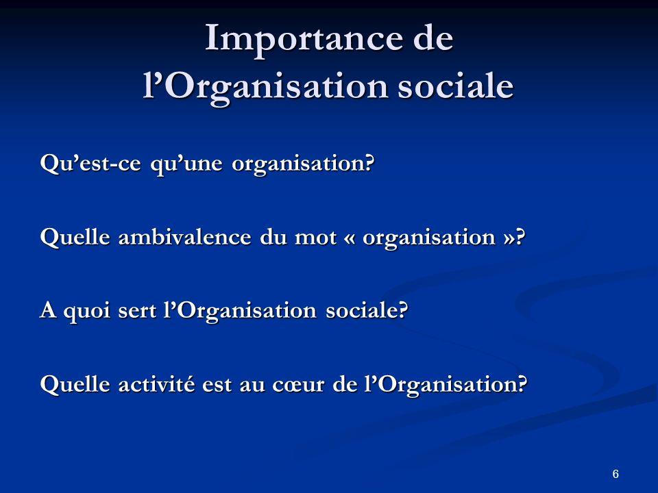 6 Importance de lOrganisation sociale Quest-ce quune organisation.