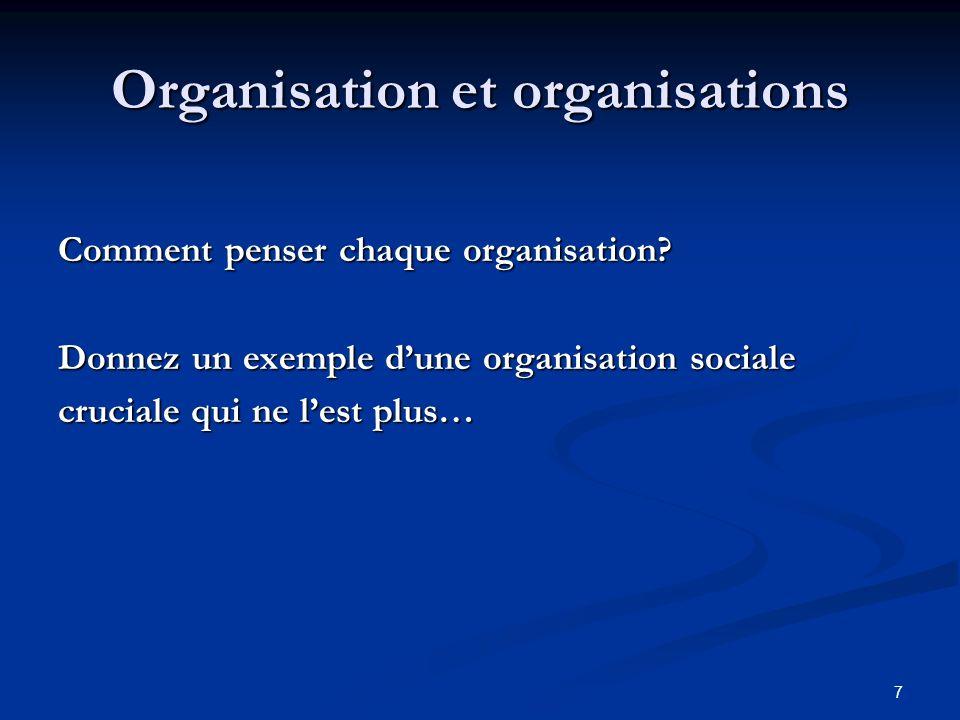 7 Organisation et organisations Comment penser chaque organisation.