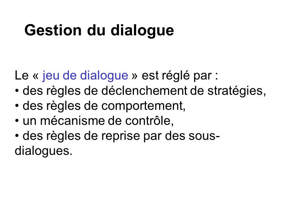 Gestion du dialogue Le « jeu de dialogue » est réglé par : des règles de déclenchement de stratégies, des règles de comportement, un mécanisme de contrôle, des règles de reprise par des sous- dialogues.