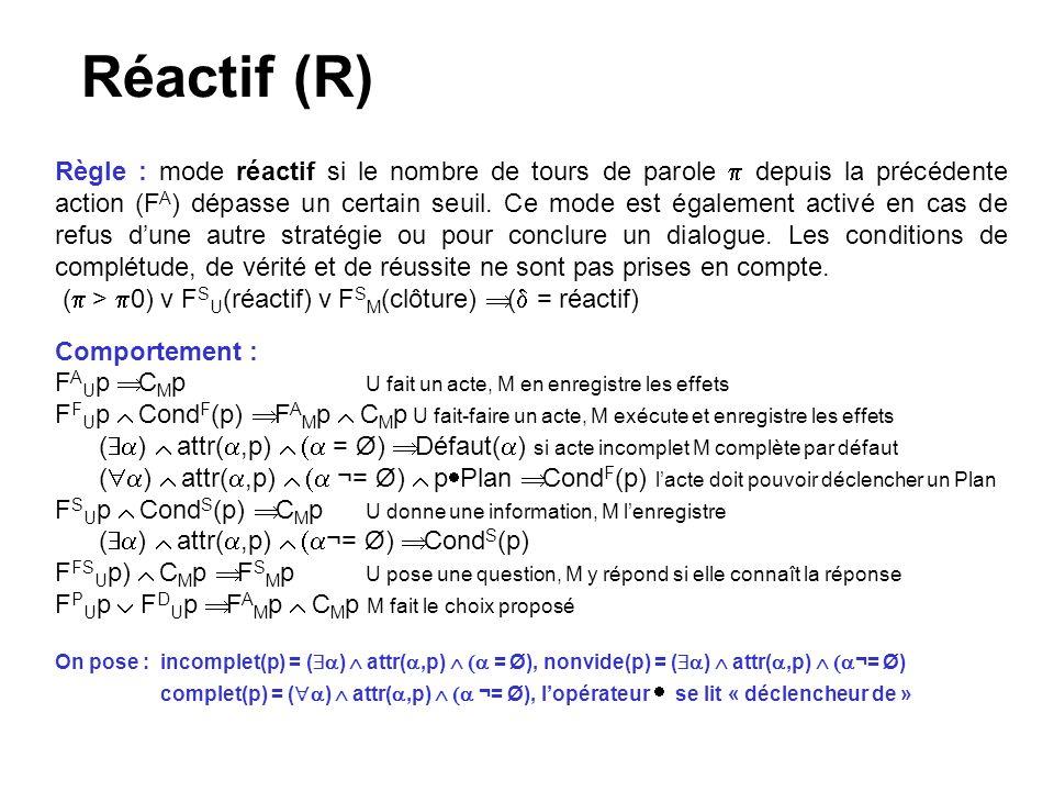 Réactif (R) Règle : mode réactif si le nombre de tours de parole depuis la précédente action (F A ) dépasse un certain seuil.