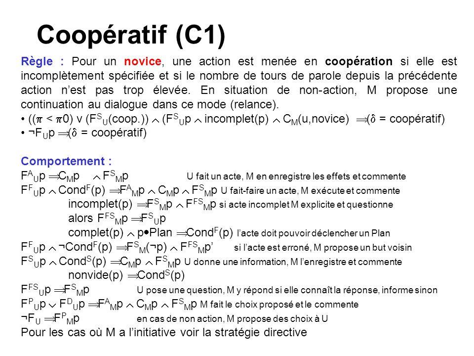 Coopératif (C1) Règle : Pour un novice, une action est menée en coopération si elle est incomplètement spécifiée et si le nombre de tours de parole depuis la précédente action nest pas trop élevée.