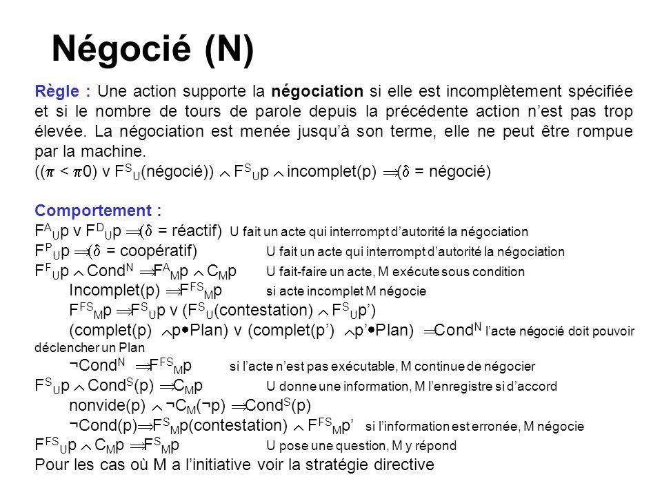 Négocié (N) Règle : Une action supporte la négociation si elle est incomplètement spécifiée et si le nombre de tours de parole depuis la précédente action nest pas trop élevée.
