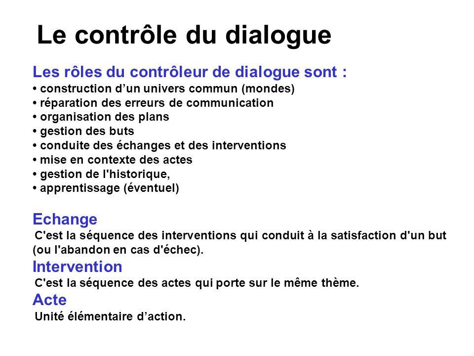 Le contrôle du dialogue Les rôles du contrôleur de dialogue sont : construction dun univers commun (mondes) réparation des erreurs de communication or