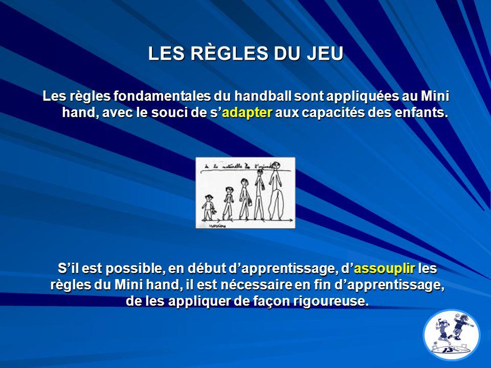 LES RÈGLES DU JEU Les règles fondamentales du handball sont appliquées au Mini hand, avec le souci de sadapter aux capacités des enfants. Sil est poss