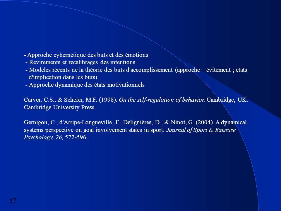 17 - Approche cybernétique des buts et des émotions - Revirements et recalibrages des intentions - Modèles récents de la théorie des buts d accomplissement (approche – évitement ; états d implication dans les buts) - Approche dynamique des états motivationnels Carver, C.S., & Scheier, M.F.