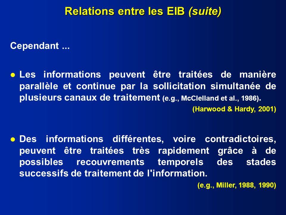 l Les informations peuvent être traitées de manière parallèle et continue par la sollicitation simultanée de plusieurs canaux de traitement (e.g., McClelland et al., 1986).