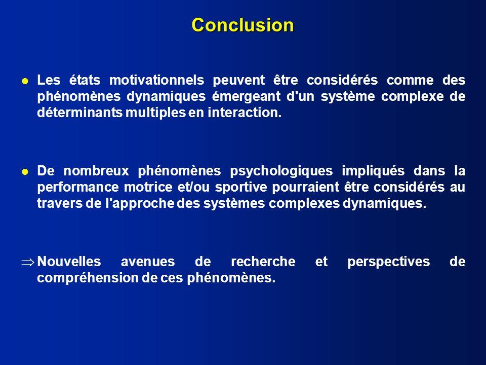 Conclusion l Les états motivationnels peuvent être considérés comme des phénomènes dynamiques émergeant d un système complexe de déterminants multiples en interaction.