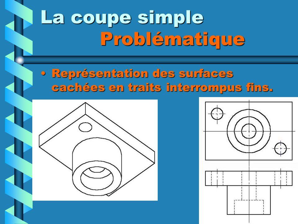 La coupe simple Problématique Représentation des surfaces cachées en traits interrompus fins.