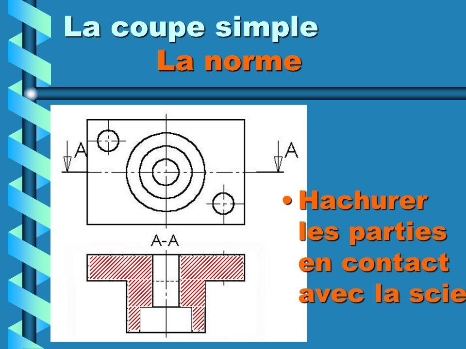 La coupe simple La norme Hachurer les parties en contact avec la scie
