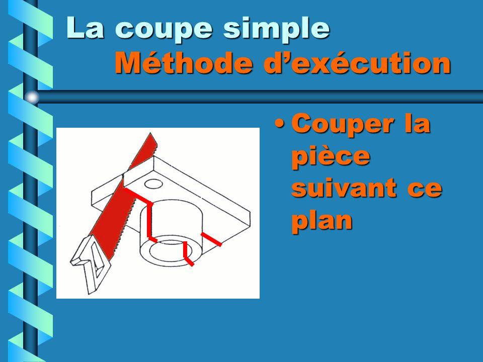 La coupe simple Méthode dexécution Couper la pièce suivant ce plan