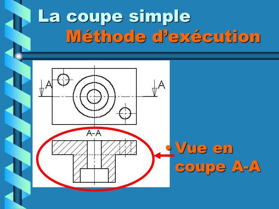 La coupe simple Méthode dexécution Vue en coupe A-A