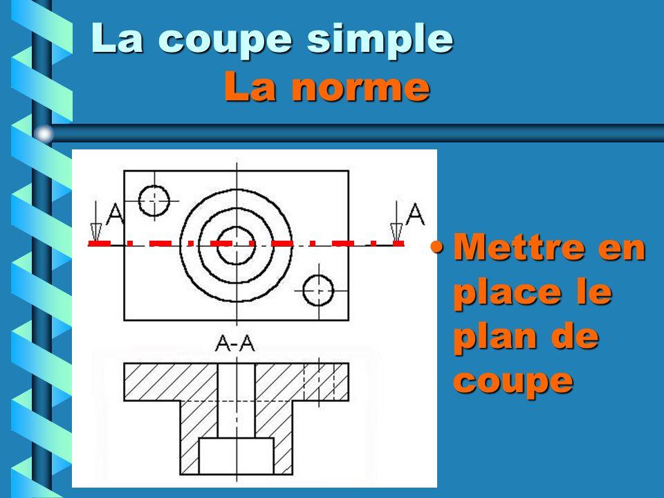 La coupe simple La norme Mettre en place le plan de coupe