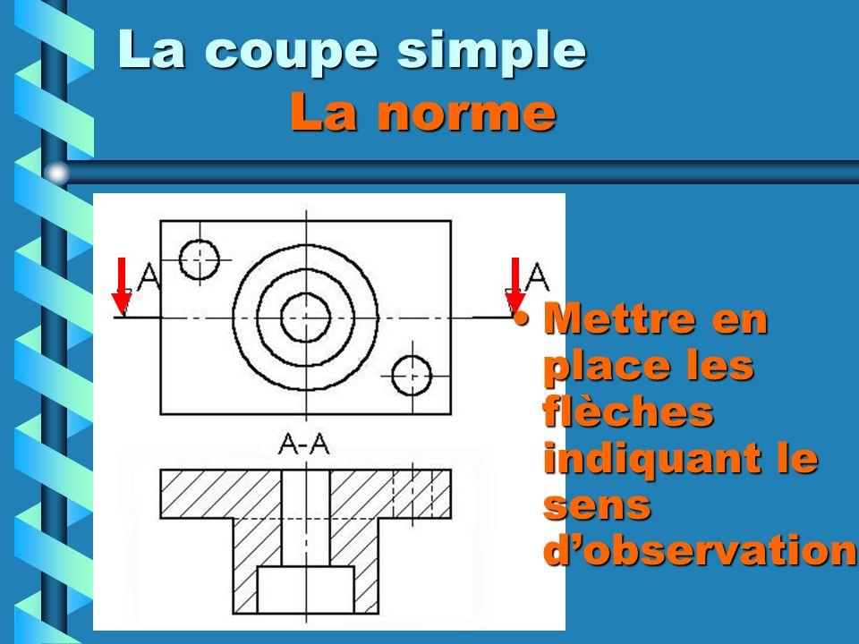 La coupe simple La norme Mettre en place les flèches indiquant le sens dobservation
