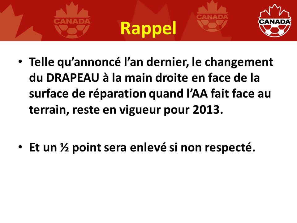 Rappel Telle quannoncé lan dernier, le changement du DRAPEAU à la main droite en face de la surface de réparation quand lAA fait face au terrain, reste en vigueur pour 2013.