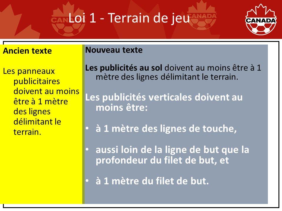 Loi 1 - Terrain de jeu Ancien texte Les panneaux publicitaires doivent au moins être à 1 mètre des lignes délimitant le terrain.