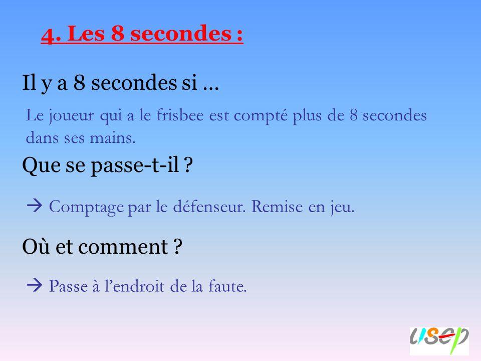4. Les 8 secondes : Il y a 8 secondes si … Que se passe-t-il ? Où et comment ? Le joueur qui a le frisbee est compté plus de 8 secondes dans ses mains